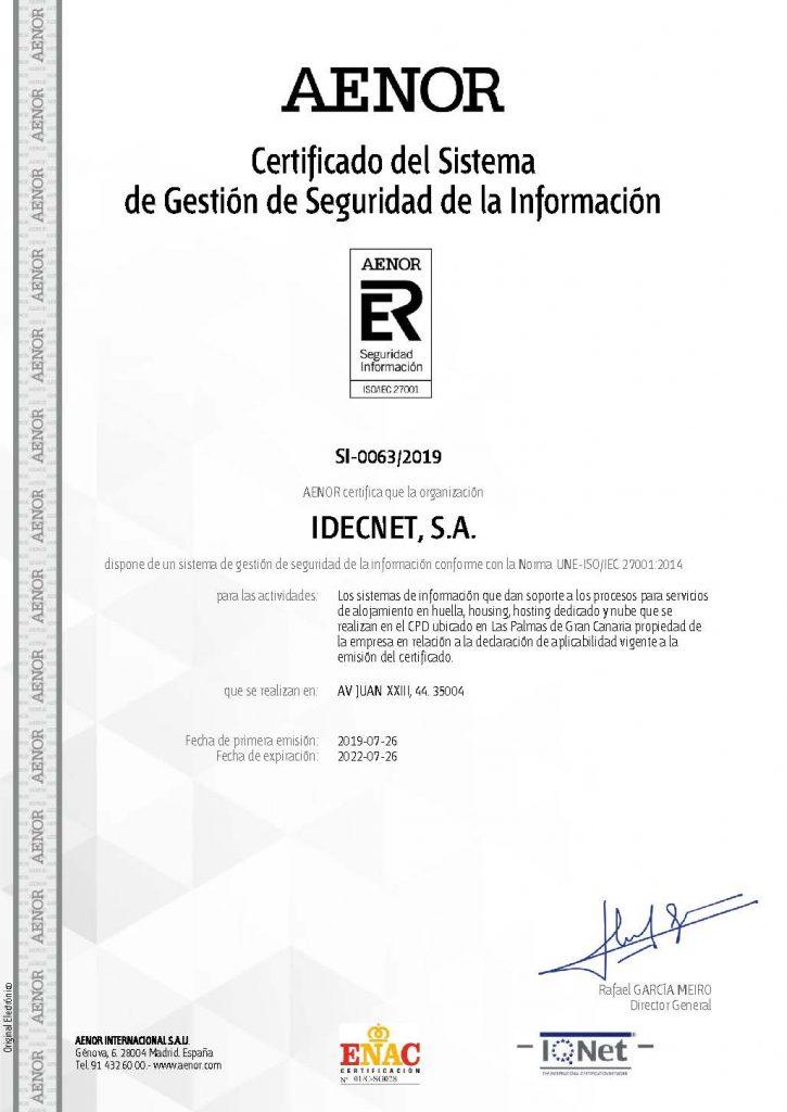 Obtenemos el Certificado de Seguridad de la Información